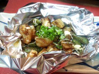 海老、春野菜味噌マヨ焼き