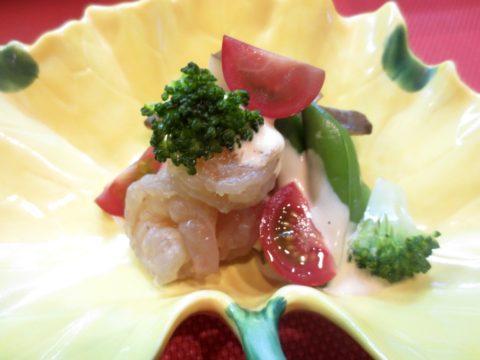 海老、あわび茸、スナップエンドウ和え物