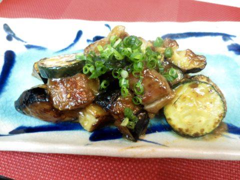 牛ロース、茄子、ズッキーニ味噌炒め