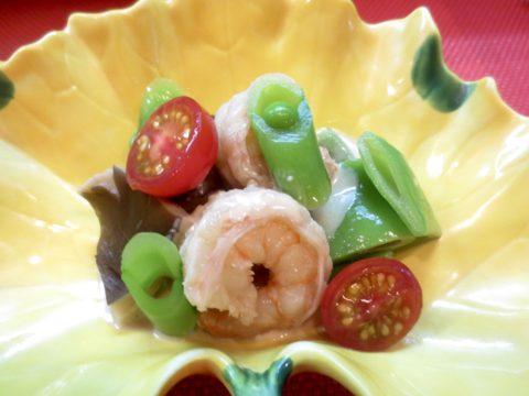 海老、平豆、あわび茸和え物