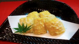 8/24、8/25天神祭で とうもろこしの天ぷら,若どり骨付き唐揚げを販売します。