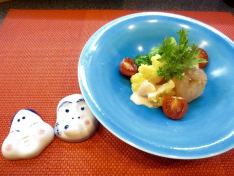 海老、芽キャベツ、カリフラワー和え物