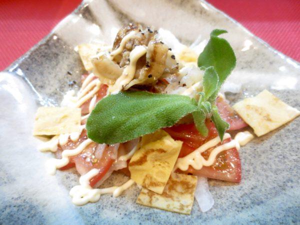 帆立、トマト、新玉ねぎスライス和え物
