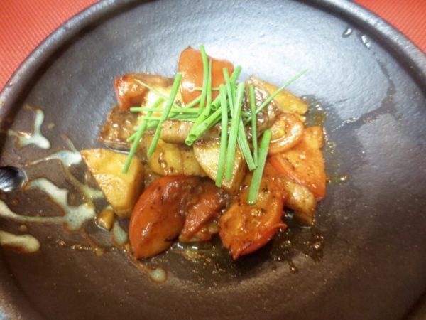 牛ロース、竹の子、トマト一味醤油焼き