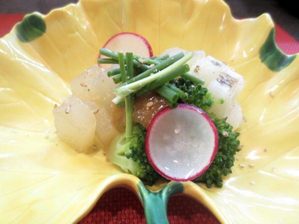 大根、ブロッコリー、白葱蕗味噌がけ