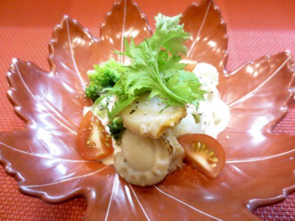 ブロッコリー、カリフラワー、帆立貝和え物