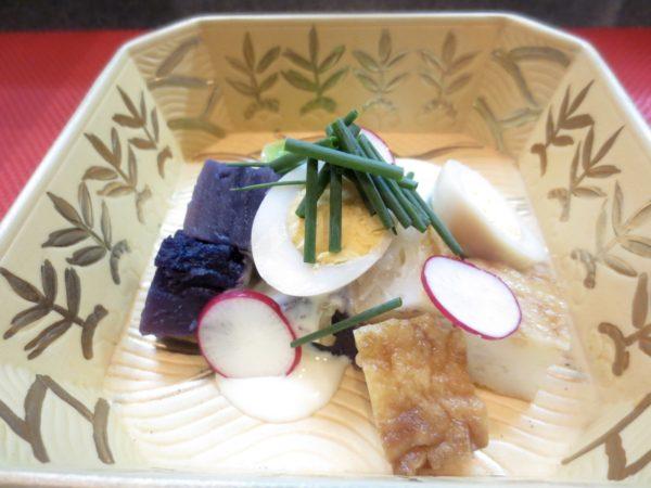 紫芋、うずら卵、平天和え物