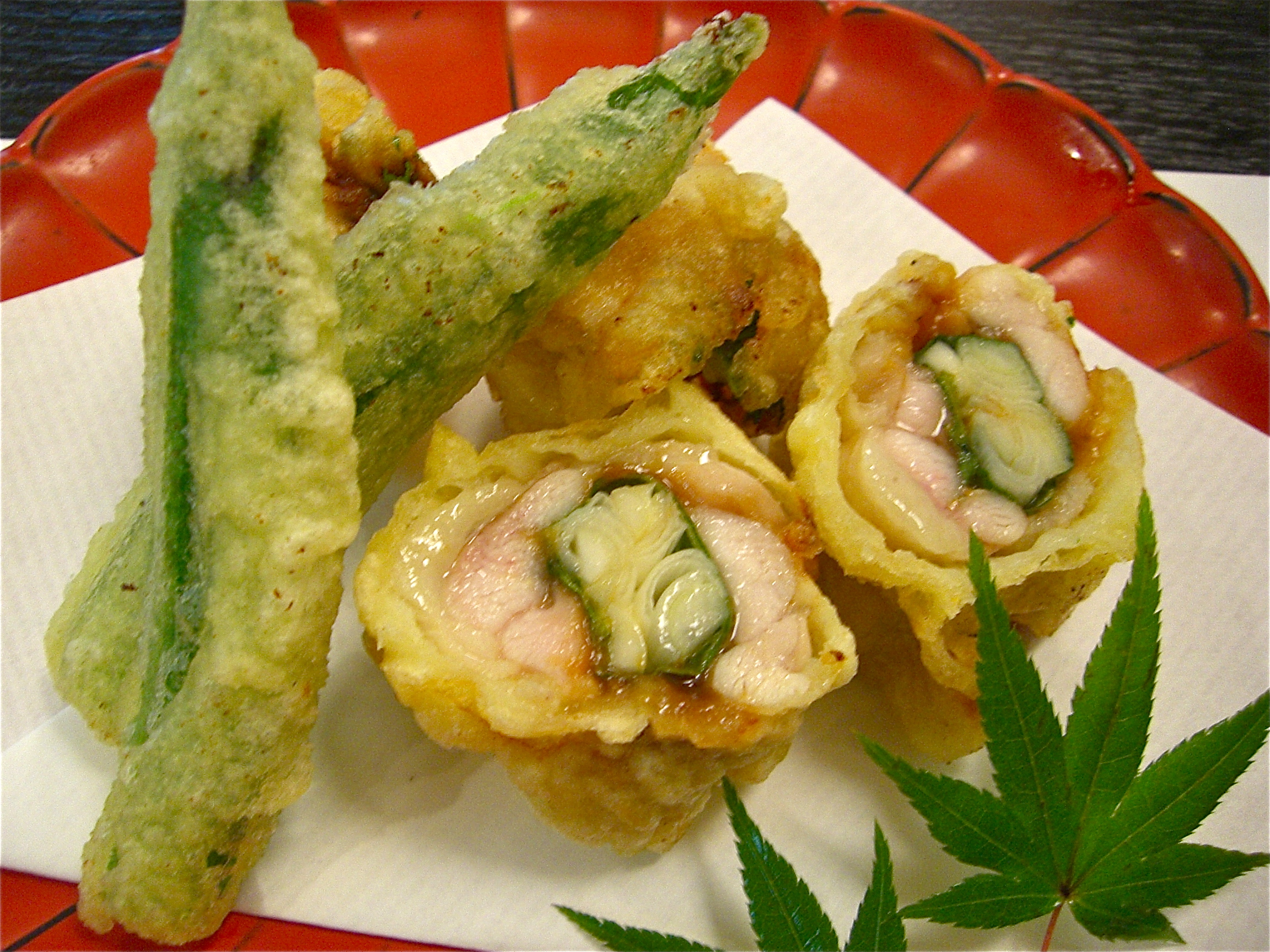 地鶏葱味噌巻き揚げ(地鶏料理2)