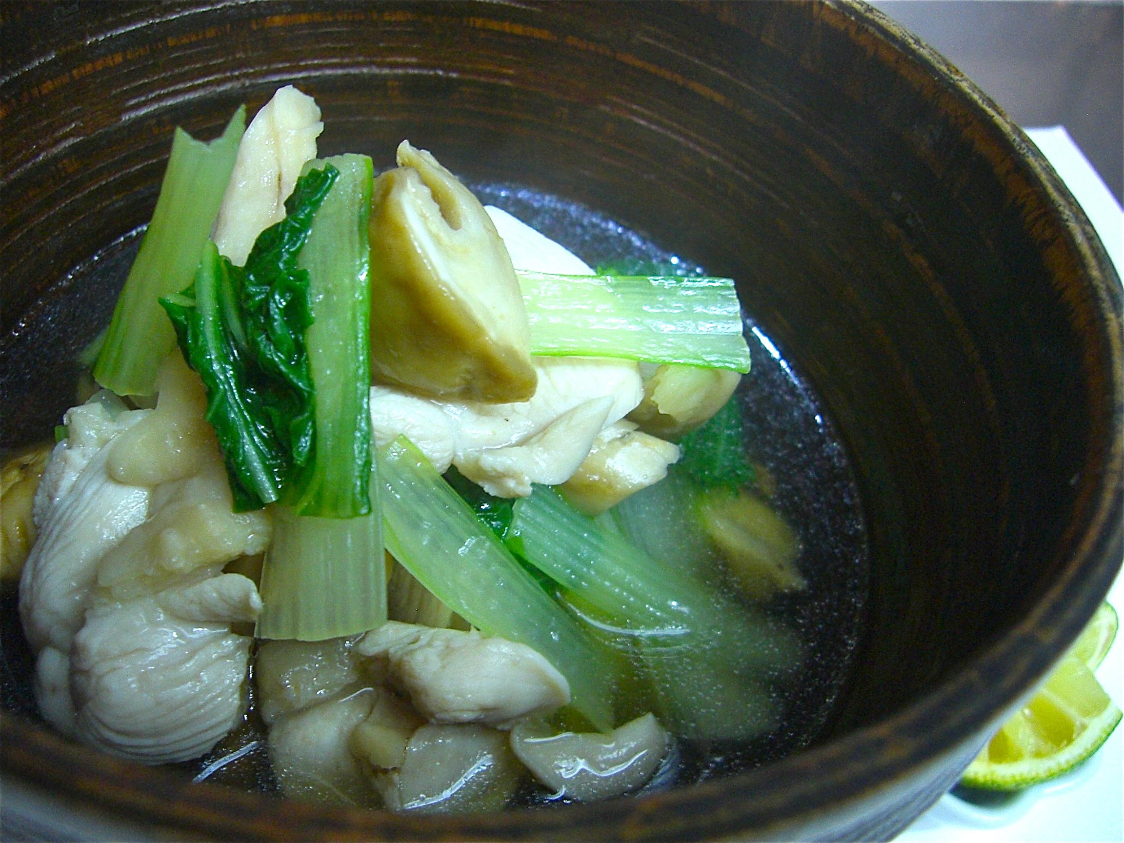 松茸と白なと地鶏のあっさり煮(松茸料理3)