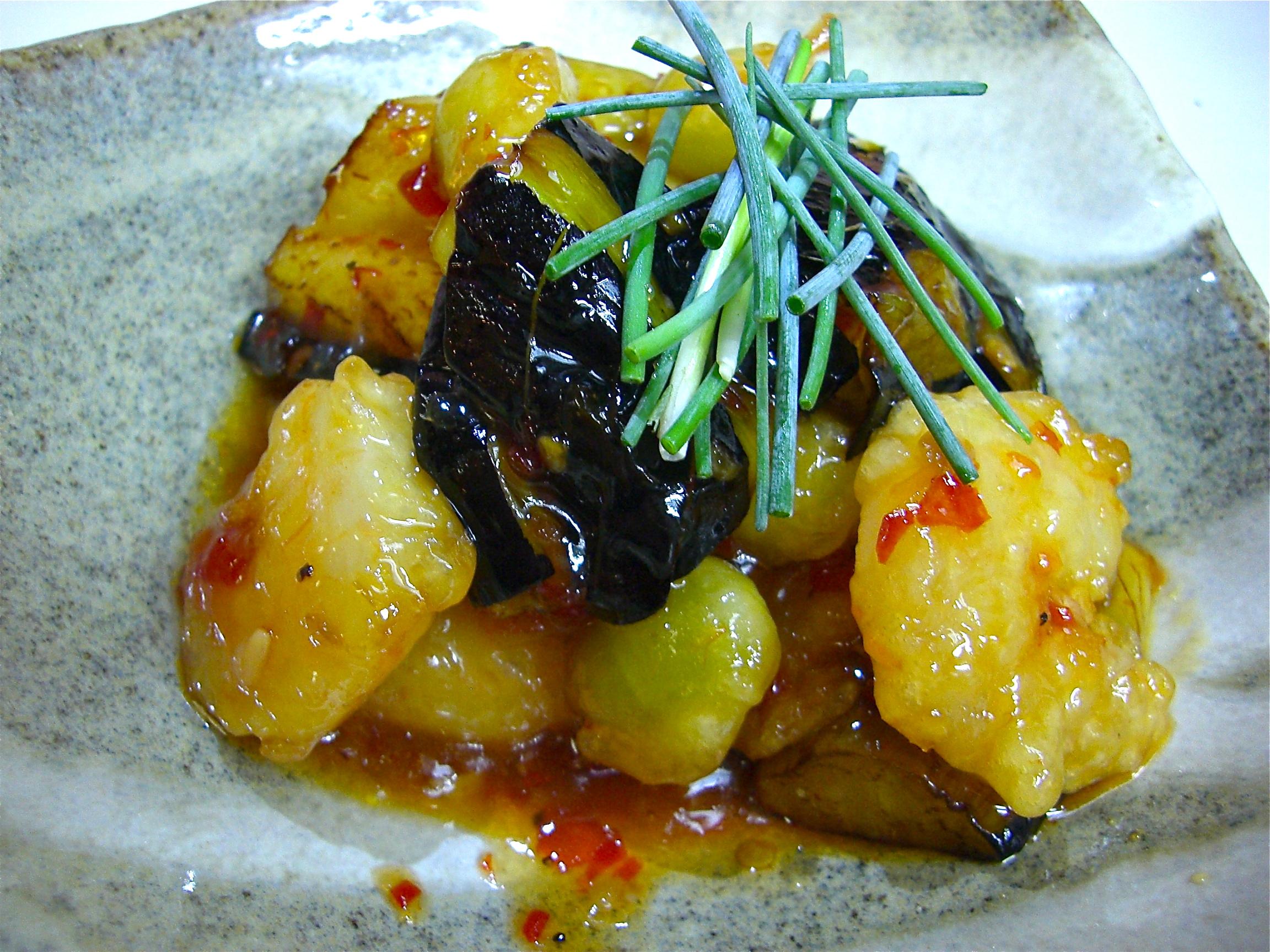 茄子 海老 銀杏チリソース炒め(茄子料理4)