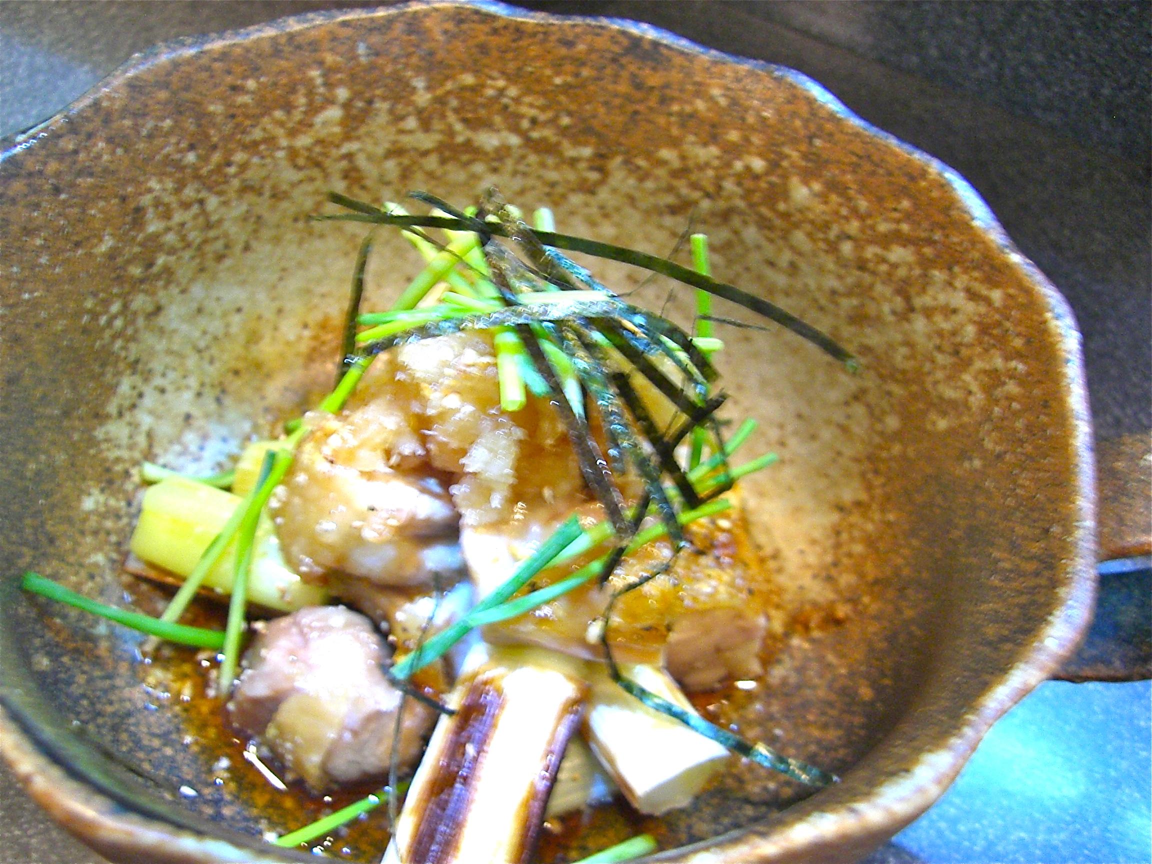 地鶏と焼き葱おろしポン酢掛け(地鶏料理9)