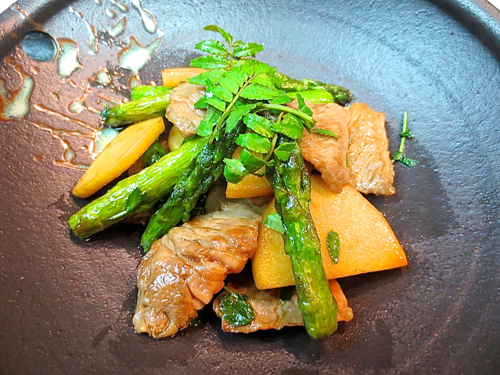 牛ロース 竹の子 アスパラ木の芽醤油焼き
