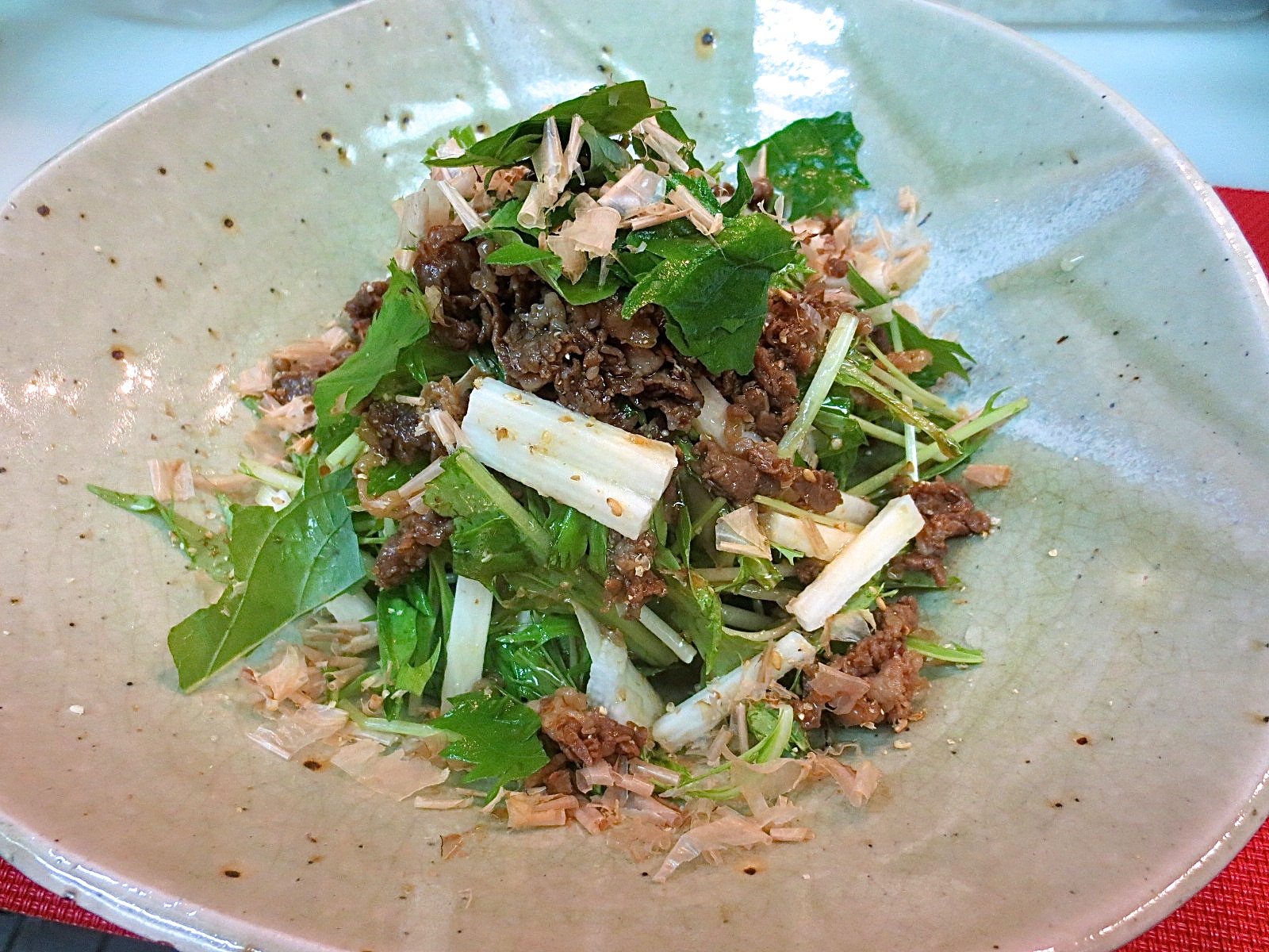水菜と長芋牛しぐれサラダ