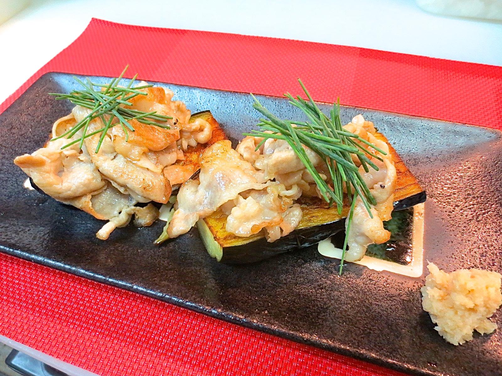 アグー豚と焼き茄子生姜しょう油