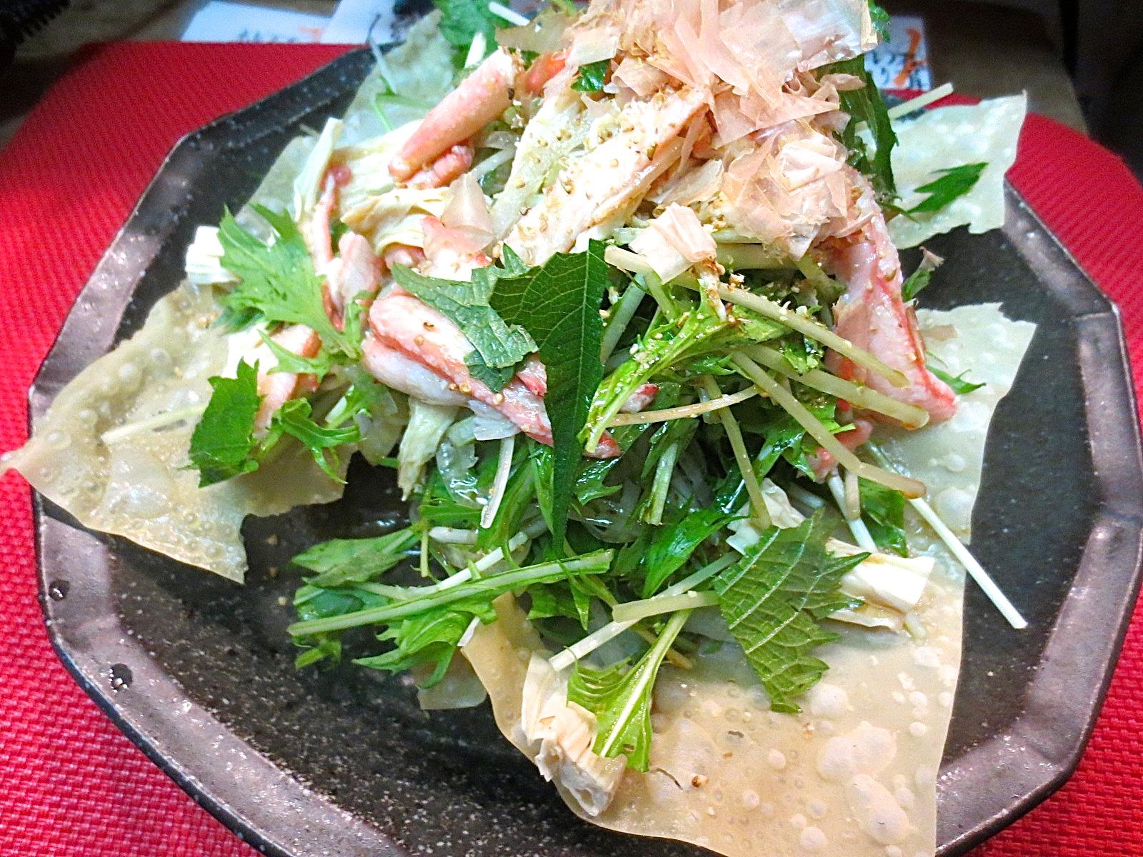 水菜 湯葉 かに身サラダ