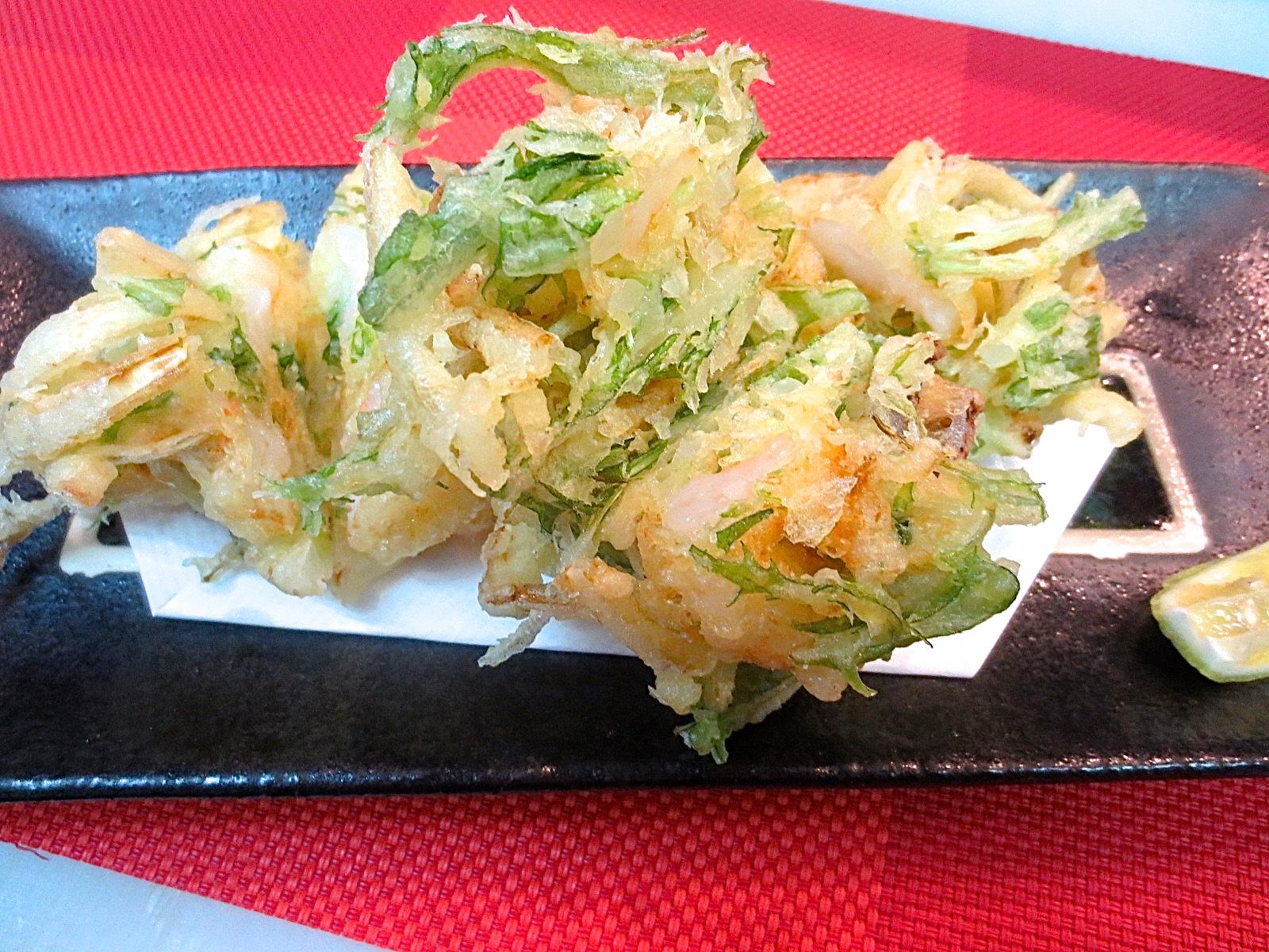 玉葱と海老と水菜かき揚げ