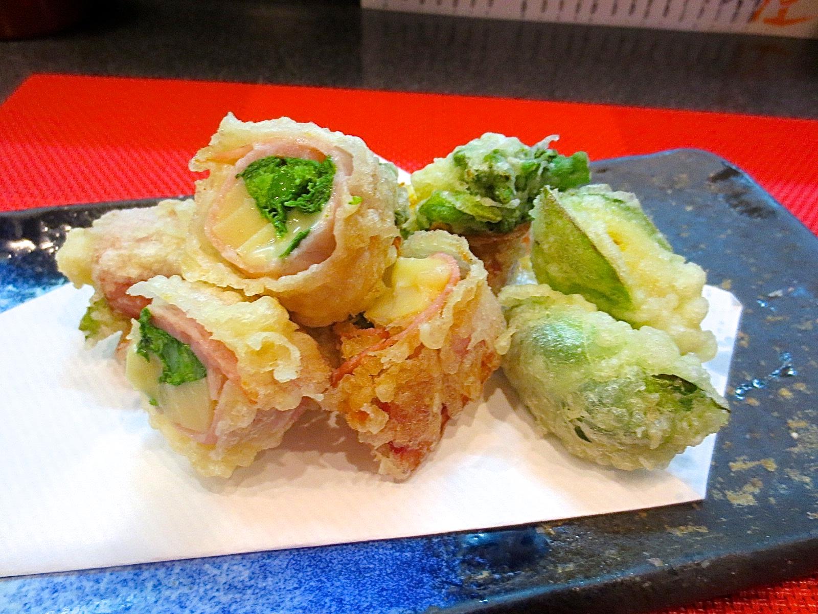 竹の子、菜の花チーズベーコン巻き
