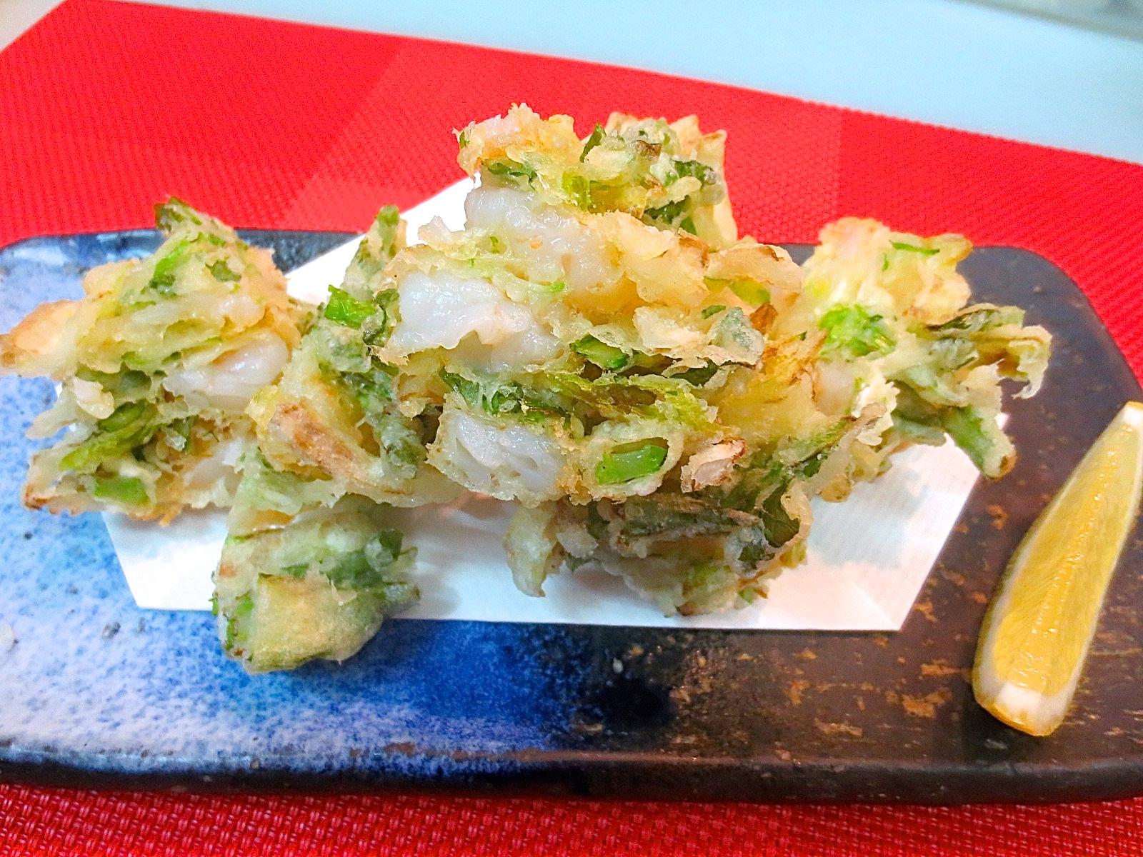 春野菜と海老かき揚げ