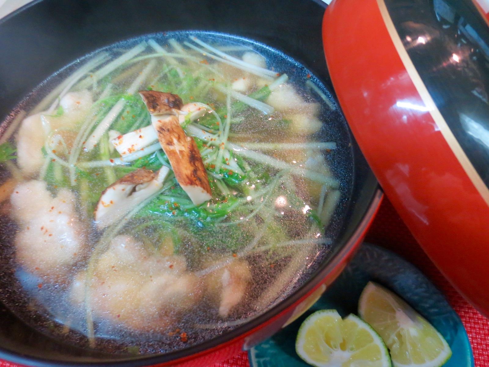 松茸 水菜 地とりあっさり煮