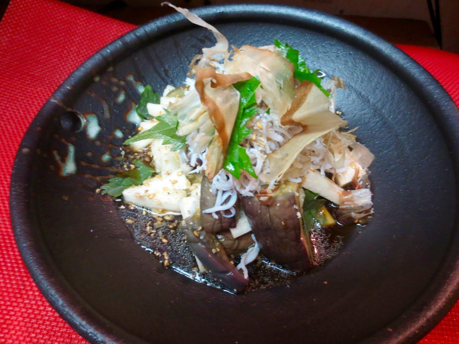 蒸し茄子 長芋 しらすサラダ(梅入り)