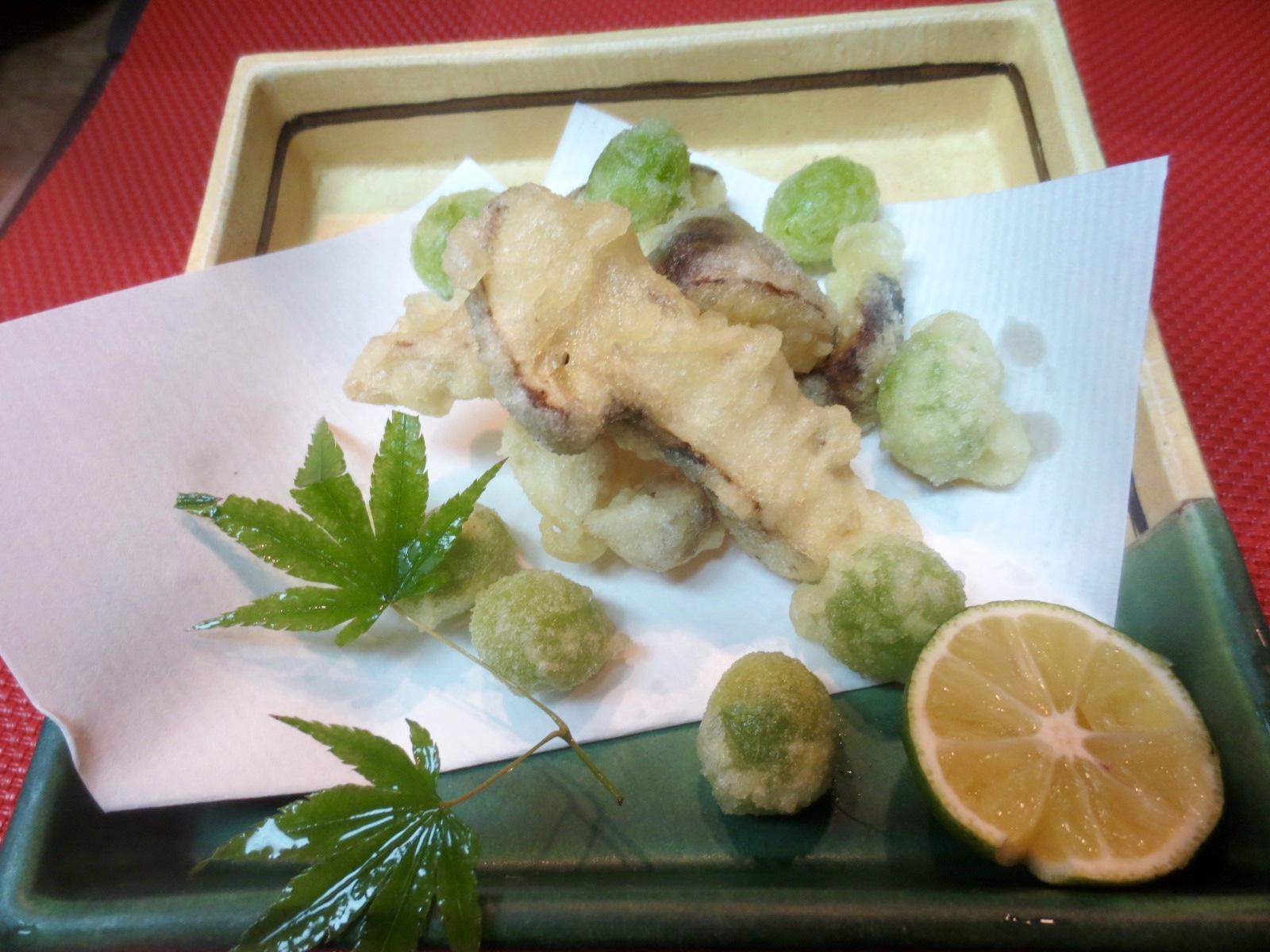 松茸と銀杏天ぷら
