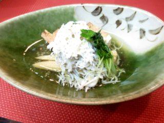 しらす、ヤングコーン、絹揚げ生姜酢