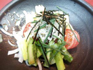 竹の子、アスパラ、トマトしらすのせサラダ